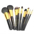 Professional 9-in-1 Cosmetic Makeup Brushes Set w/ Built-in Mirror - Black + Golden