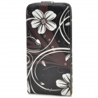 Stylish Flower Pattern Flip-open PU Leather Case for HTC One M7 - Black + White