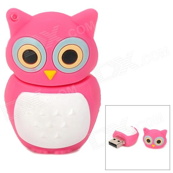 KL 999 Cute Cartoon Owl Style USB 2.0-Flash-Laufwerk Disk - dunkelrosa + weiss (4GB)