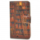 Retro Book Shelf Pattern Flip-open PU Leather Case w/ Card Slot for Samsung i9300 - Brown