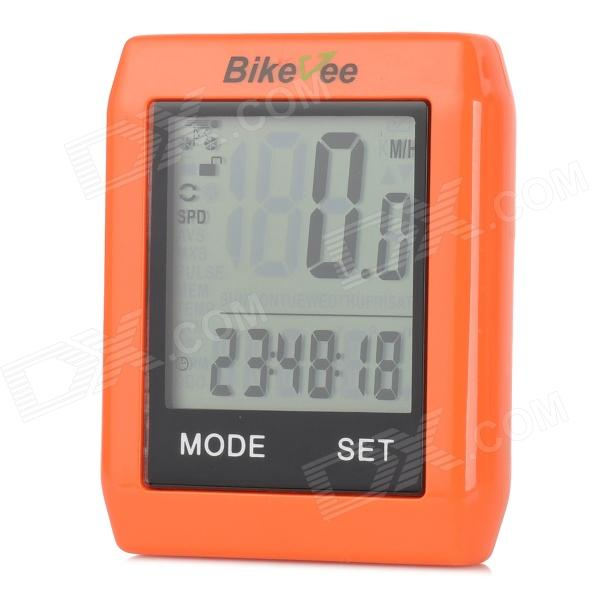 "BIKEVEE BKV-6000 Multifunctional 1.7"" LCD Wireless Bike Computer - Orange (1 x CR2032)"