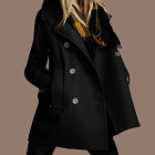 Stylish Double-Breasted Wool Woolen Coat for Women - Black (Size-L)