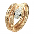 eQute BPEW12C3 Fashion Multilayers Rhinestone Snake Mesh Adjustable Bangle Bracelet - Golden