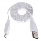 Universal Flat Micro USB Male to USB 2.0 Male Data Sync Cable - White (95cm)