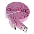 Universal Flat Micro USB Male to USB 2.0 Male Data / Charging Cable - Pink (105cm)