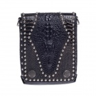 CK10KB Fashion Alligator Pattern Head Layer Cowhide High-Grade Men's Business Bag - Black
