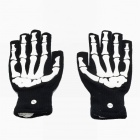 Stylish 7-Color Changing LED Flashing Fingertip Gloves - Black + White (Pair / 2 x CR2032)