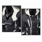 Stylish Slim Fit Inclined Zipper Cardigan for Men - Deep Grey (Size-L)