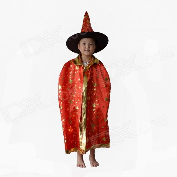 Kids Satin Cloak Costume w/ Hat - Red + Golden