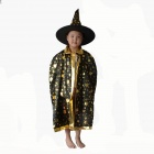 Kids Satin Cloak Costume w/ Hat - Black + Golden
