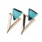 Fashionable Elegant Triangle Shape Rhinestone Decoration Women's Ear Studs - Emerald + Golden (Pair)