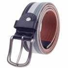 Fashionable Men's Head Layer Cowhide Leather Waist Belt w/ Zinc Alloy Buckle - White + Grey + Black