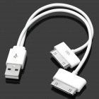 USB 2.0 to Samsung 30-Pin + Apple 30-Pin Data / Charging Cable - White