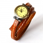 Fashionable Retro Style PU leather Band Women's Quartz Analog Wrist Watch - Brown (1 x 626)