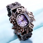 Exquisite Craft Carving Bracelet Style Quartz Analog Watch for Women - Bronze + Purple (1 x LR626)