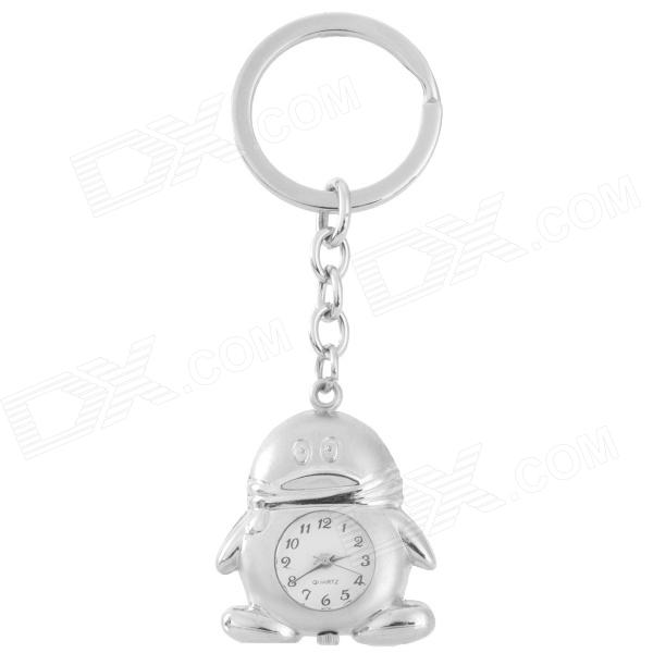 Q-158 Cute Penguin Style Analog Quartz Pocket Watch w/ Keychain - Silver (1 x 377)