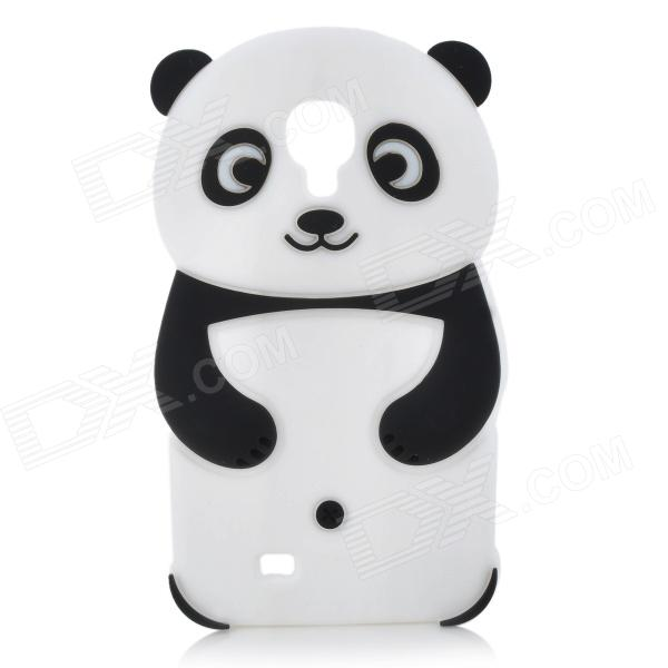 Cute Panda Style Flexible Silicone Back Case for Samsung Galaxy S4 i9500 - Black + White