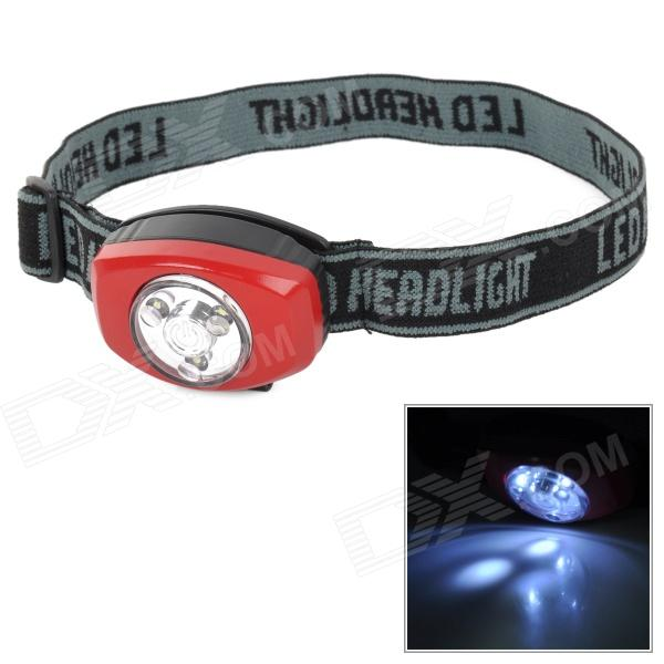 GOREAD GD29 Adjustable 3-LED White Light Headlamp - Red + Black (2 x CR2032)
