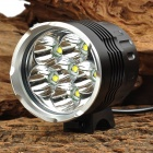 6 x Cree XM-L U2 2800lm 5-Mode White Bike Headlamp - Black (6 x 18650)