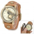 B055 Stylish Pistol Skeleton Cover Analog Quartz Wrist Watch - Brown + Brass (1 x SR626)