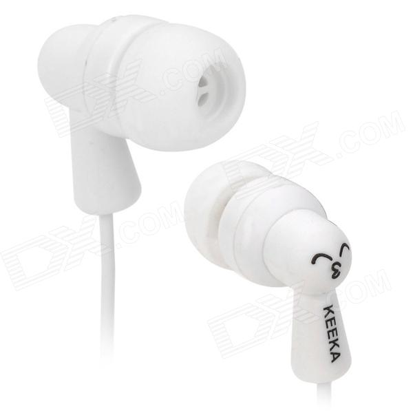 KA-23 In-Ear Earphones for Iphone / Samsung + More - White (3.5mm Plug / 110cm-Cable)