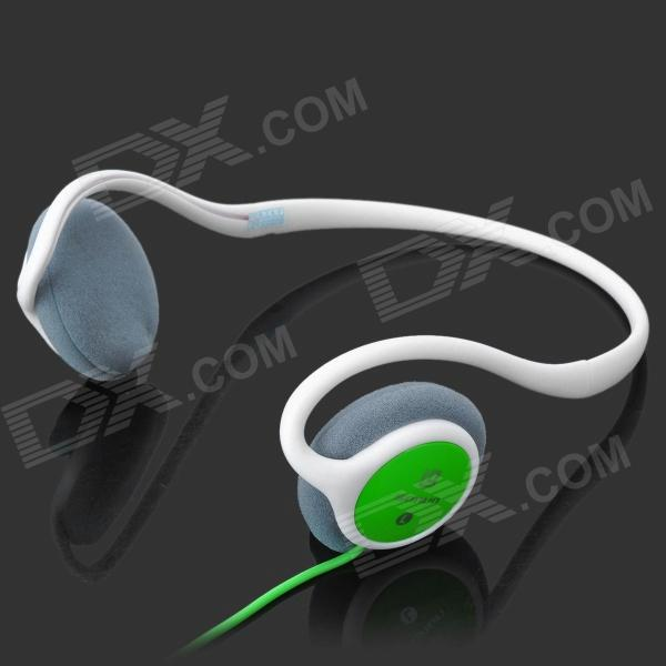 Sonun SN-980V Stylish Ear Hook Stereo Headphones - Green + White (3.5mm Plug / 1.4m)