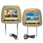 "PALJOY HG-730 7"" LCD Car Headrest Monitor w/ Remote Controller / Game Controller - Beige (2 PCS)"