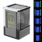 "1819 3"" Multifunctional Flashing Light Digital Clock Pen Holder - Black + Grey + Silver (4 x AAA)"