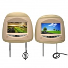 "PALJOY HA-708 7"" LCD Screen Car Headrest Monitor w/ Remote Controller / AV-IN - Beige (2 PCS)"