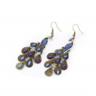 Fashionable Antique Peacock Earrings - Blue + Bronze (Pair)