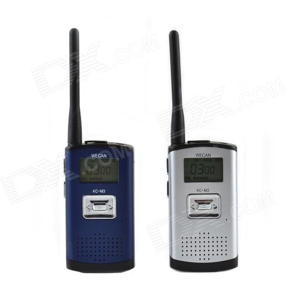 Wecan KC-M3 Ultra-Thin Ultra-Clear 400~470MHz 20-Channel Walkie Talkie - Silver + Blue (2 PCS)