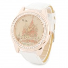 A-811 Woman's Stylish Old Castle Pattern Crystal Ring Analog Quartz Wrist Watch - White + Golden
