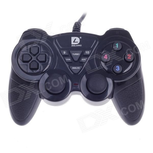 DILONG PU305 USB Wired PC Game Pad Shocks Joystick - Black (170cm-Cable)