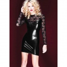 LYQ-1 Woman's Sexy Long Sleeve Lace Skinny Dress - Black