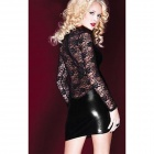 Woman's Sexy Long Sleeve Lace Skinny Dress - Black