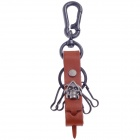 Fashionable Skull Style Copper Aluminium Alloy + Cow Leather Keychains - Black + Brown