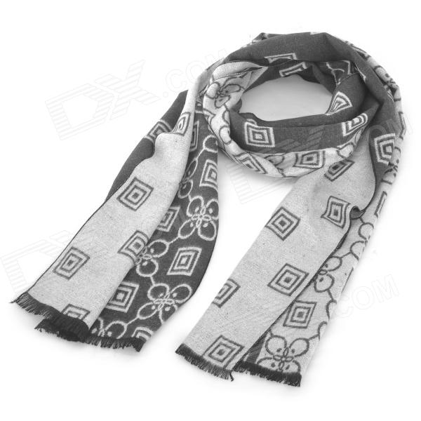 Men's Stylish Patterned Cozy Wool Spinning Scarf / Muffler - White + Black