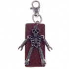Fashionable Skull Style Copper Aluminium Alloy + Cow Leather Keychains - Brown + Black