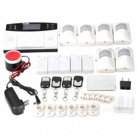 SN-9100 Quad-Band GSM Home SMS Security Alarm System Set - White+Black