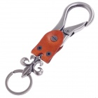 Fashionable Copper Aluminium Alloy + Cow Leather Keychains - Brown + Silver