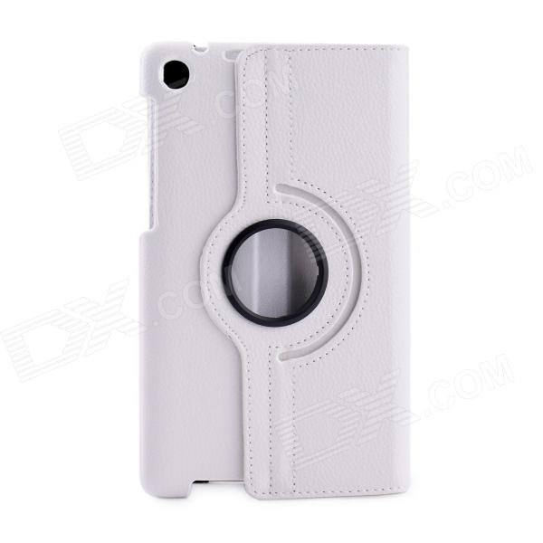 360' Rotation Protective PU Leather Case Cover Stand w/ Auto-Sleep for Asus Google Nexus 7 2 - White