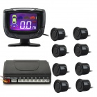 "PZ500-8 2"" LCD Digital Display Screen 8-Probes Parking Sensor - Black (DC 12V)"