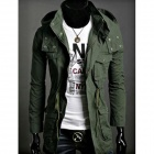 Men's Casual Long Warm Cotton Coat - Army Green (L)