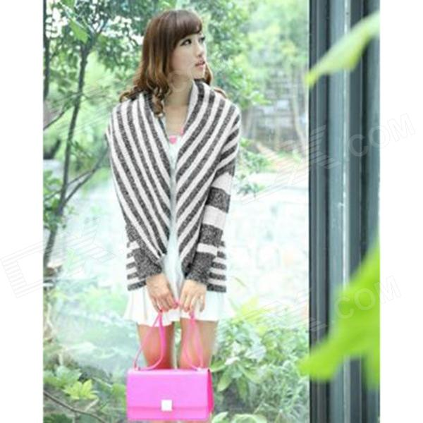 YLY-FL-41053-3086# Loose Long Wool Acrylic Cardigan Sweater for Women - Grey + White