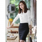 LADYS-883 Long Sleeve Business Cotton Blouse Shirt for Women - White (L)