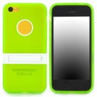 Protective Soft TPU Back Case w/ Holder for Iphone 5C - Green + White