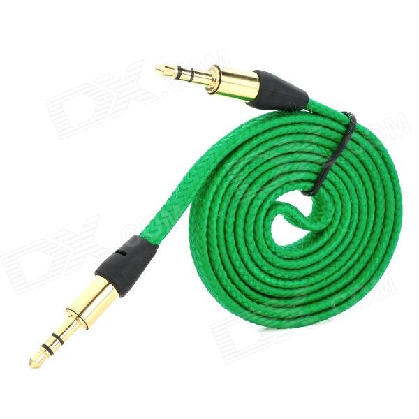 MM-35 3.5mm Male to Male Audio Connection Nylon Cable - Green + Golden + Black (1m)