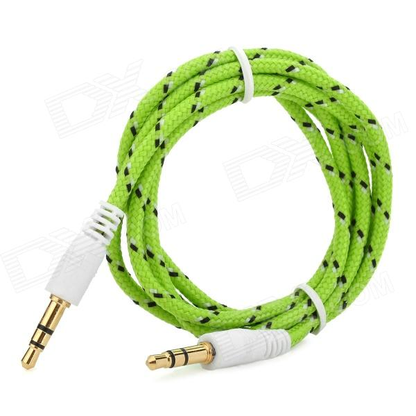 3.5mm Male to Male Audio Connection Nylon Cable - Green + Black + White (1m)