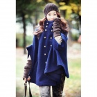 YLY-DXH-407-1355# Double-Breasted Bat Sleeve Artificial Wool Overcoat - Deep Blue