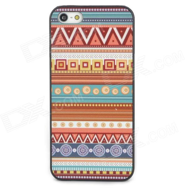 Tribal Ethnic Style Protective Plastic Back Case for Iphone 5 - Multicolor relief tribal ethnic style protective plastic back case for iphone 4 blue white red